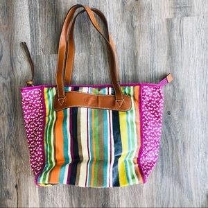 Fossil multi colored handbag purse striped cute